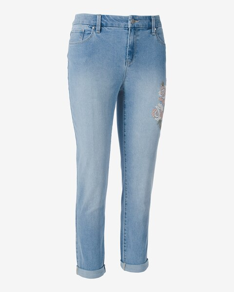 Girlfriend Ankle Floral Embroidery Pants Chicos Off The Rack