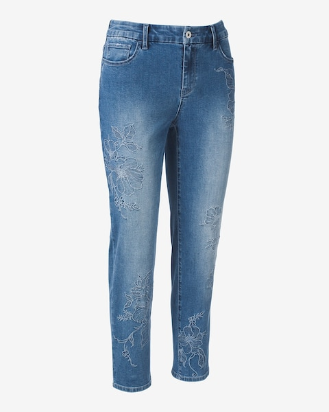 Girlfriend Ankle Tonal Embroidery Jeans Chicos Off The Rack