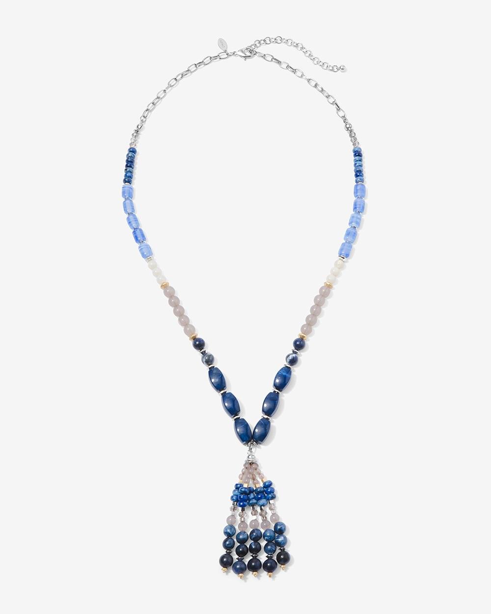 bead block tassel pendant necklace chico s off the rack chico s