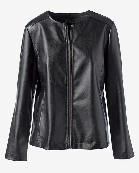b6b844028 Faux-Leather Ponte Mix Long-Sleeve Jacket